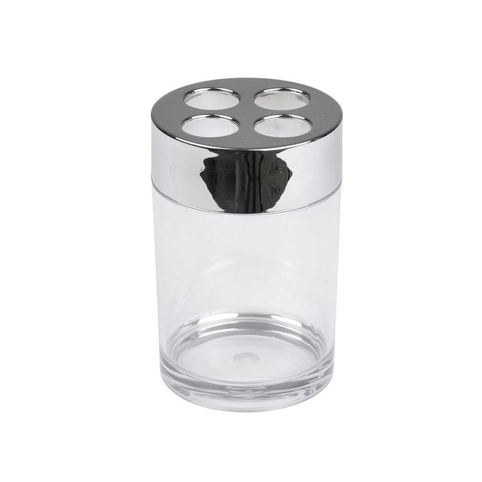 Gobelet Porte Brosse à Dent en Plastique Chromé (Chromé)