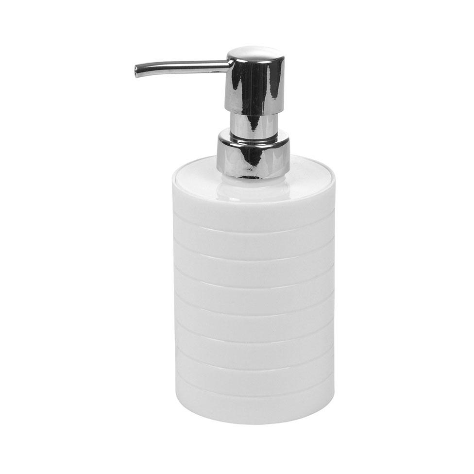 Distributeur de Savon en Plastique Strié (Blanc)