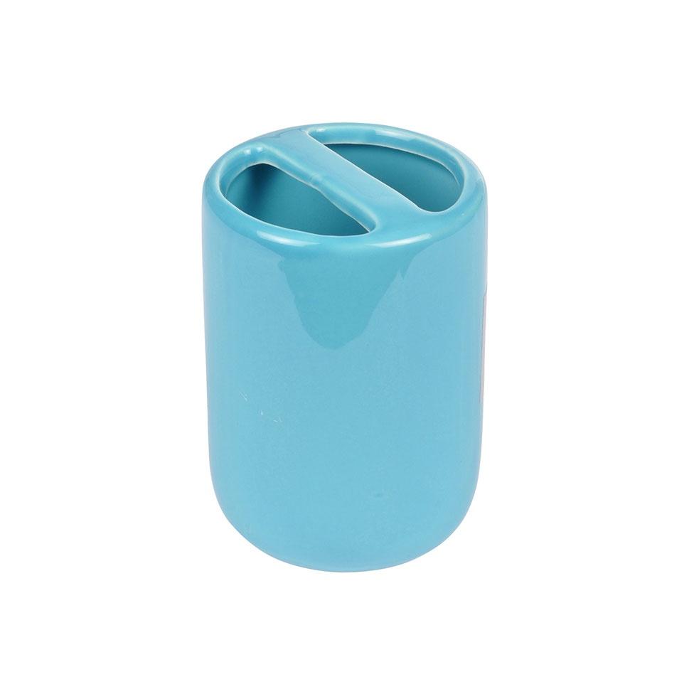 Gobelet Porte Brosse à Dent en Céramique Colorée  (Bleu océan)