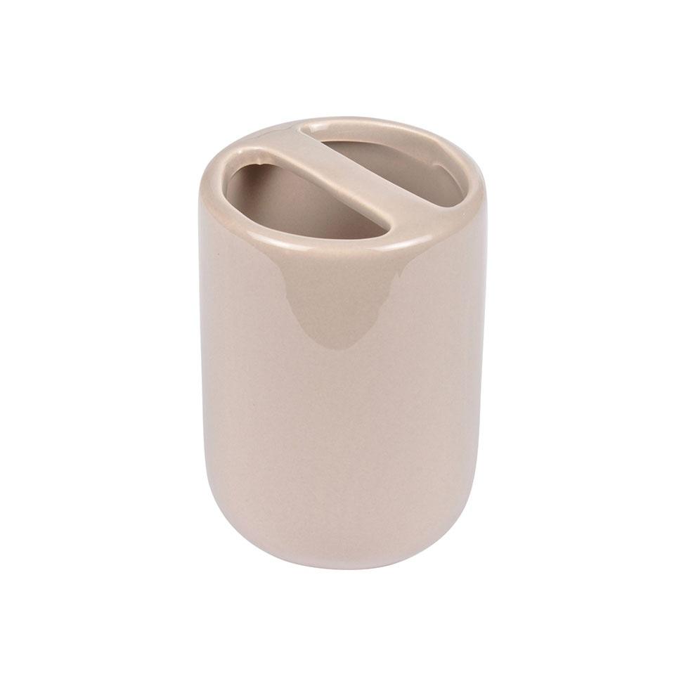 Gobelet Porte Brosse à Dent en Céramique Colorée  (Taupe)