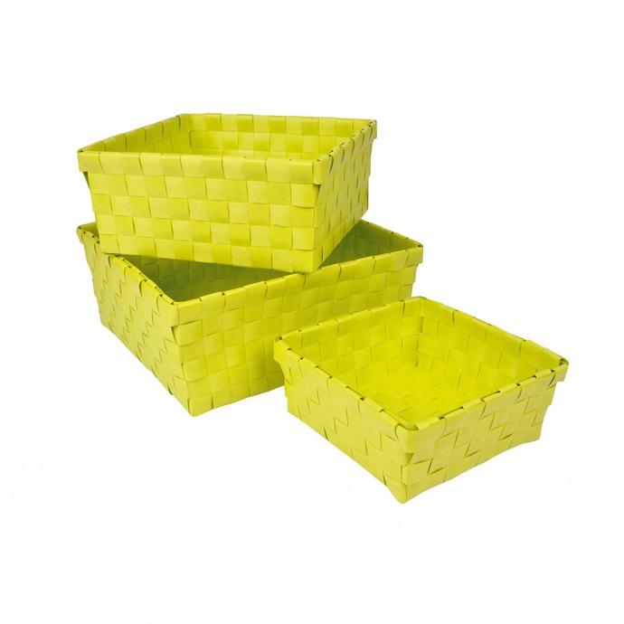 Set de 3 Paniers Tressés en Plastique (Gris clair)