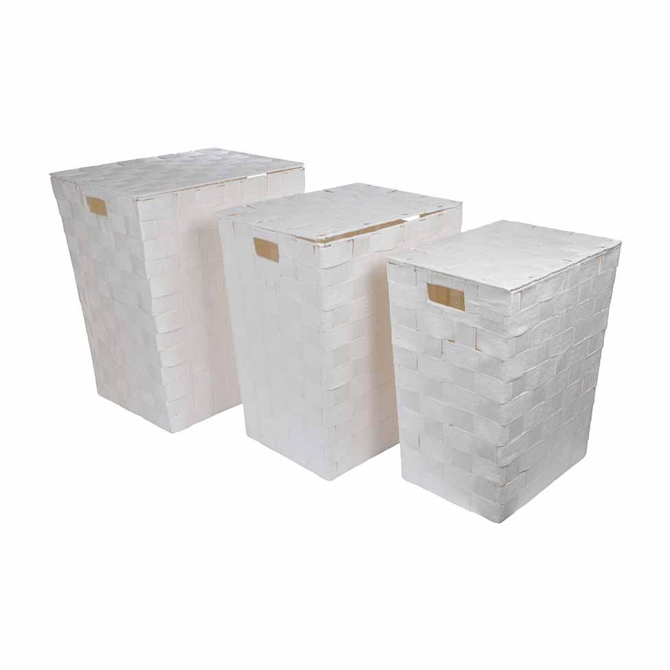 Set de 3 Coffres à  Linge en Papier Tressé  (Blanc)