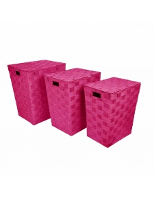 Set de 3 Coffres à  Linge en Papier Tressé Coloré