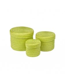 Set de 3 Boîtes Rondes en Plastique Tressé