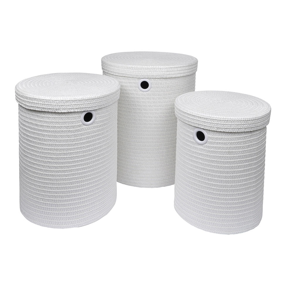 Set de 3 Paniers à Linge en Plastique Tressé (Blanc)