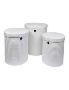 Set de 3 Paniers à Linge en Plastique Tressé