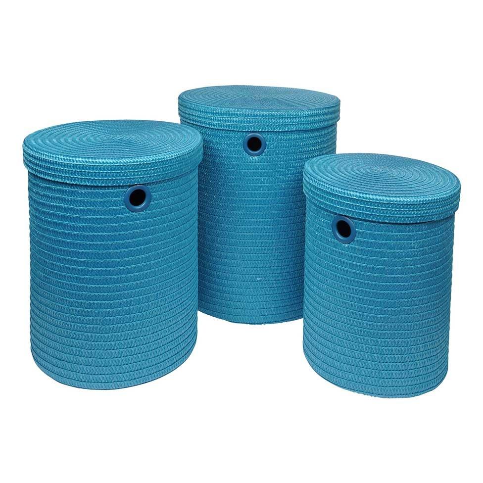 Set de 3 Paniers à Linge en Plastique Tressé (Bleu océan)