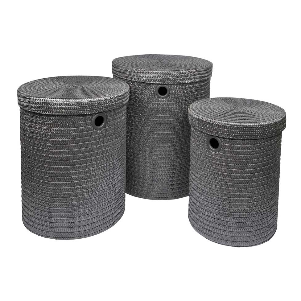 Set de 3 Paniers à Linge en Plastique Tressé (Anthracite)