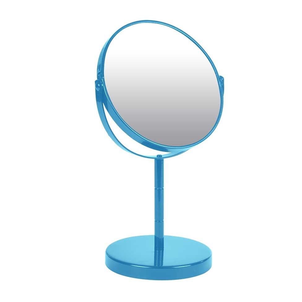 Miroir sur Pied Grossissant X1/X2 en Métal Coloré (Bleu)
