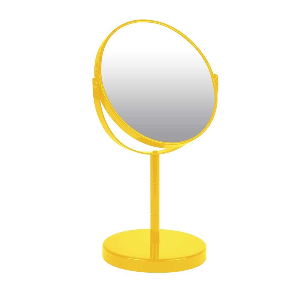 Miroir sur Pied Grossissant X1/X2 en Métal Coloré (Jaune)