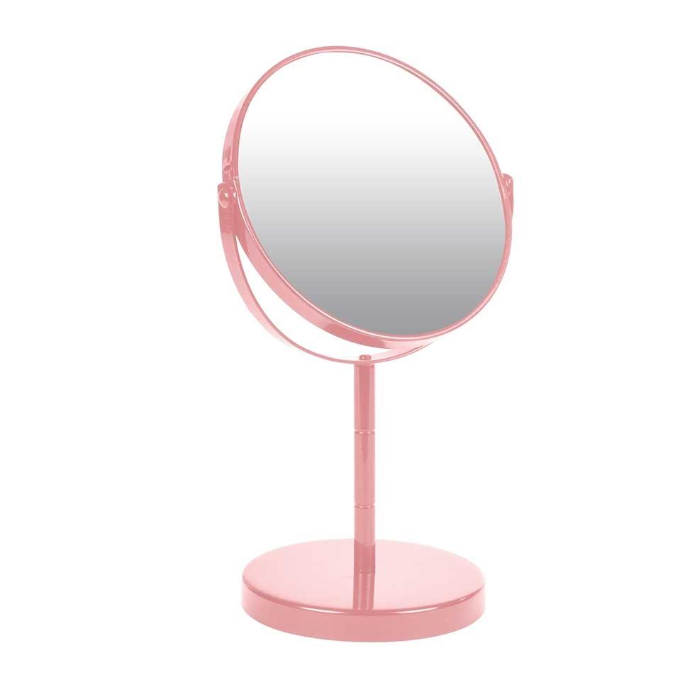 Miroir sur Pied Grossissant X1/X2 en Métal Coloré (ROSE POUDRE)
