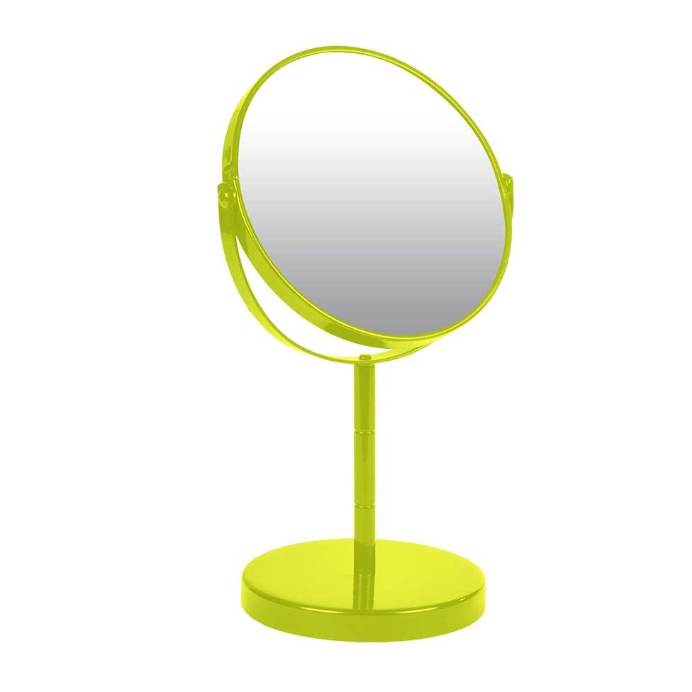 Miroir sur Pied Grossissant X1/X2 en Métal Coloré (Vert Anis)