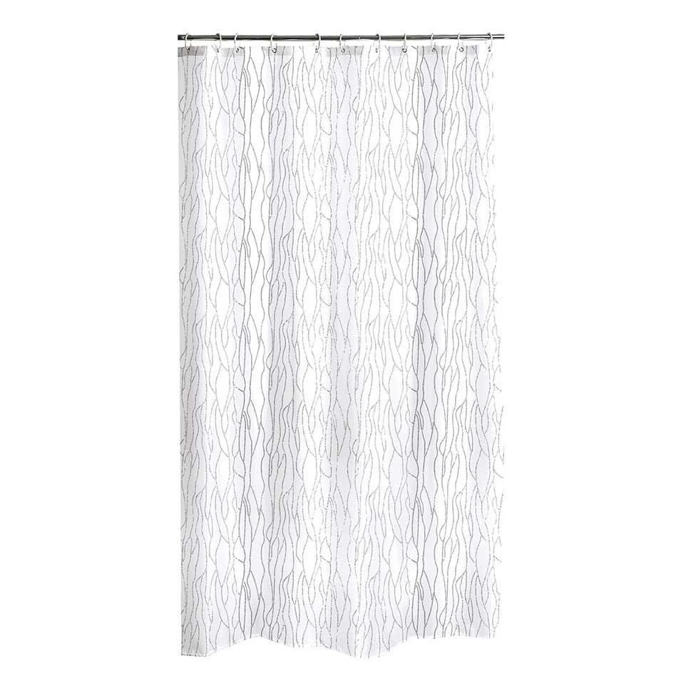 Rideau de douche branchages entrem l s blanc gris clair taupe anthracite homebain - Rideau de douche gris anthracite ...