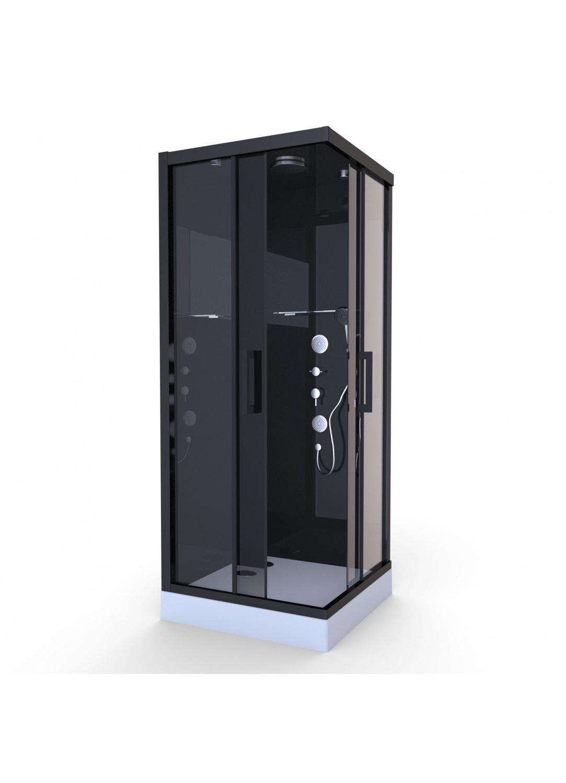 Cabine de Douche Black Mirror Carrée (Noir)