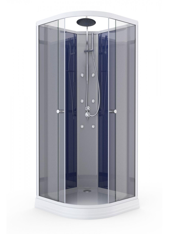 Cabine de Douche avec Système d'Hydromassage (Bleu Nuit)