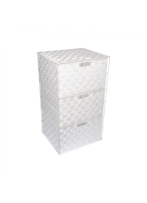 Petit Meuble 3 Tiroirs en Plastique Tressé à Lanières (Blanc)