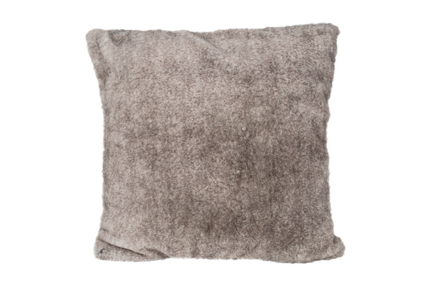 Coussin Imitation Fausse Fourrure (Taupe)