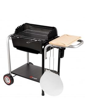 Barbecue avec cuve en fonte et four à pizza