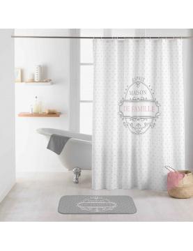 Rideau de douche imprimé maison de famille
