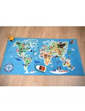 Tapis de sol imprimé carte du monde