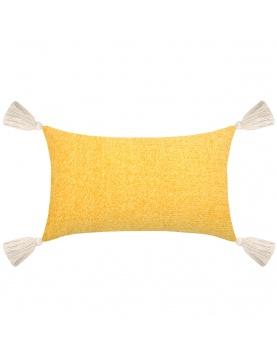 Coussin rectangulaire avec pompons