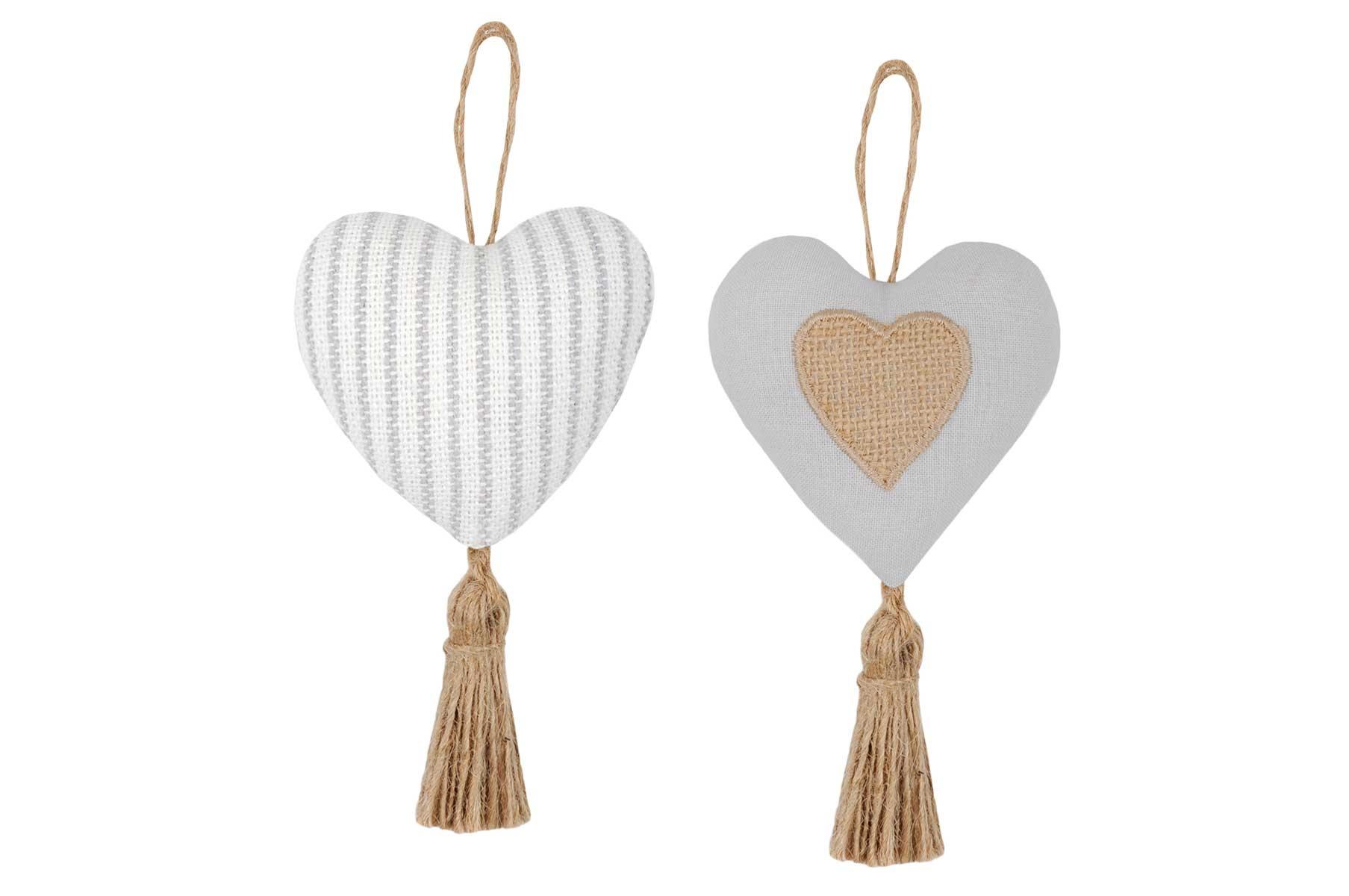 2 Coeurs à Suspendre à Fines Rayures (Gris)