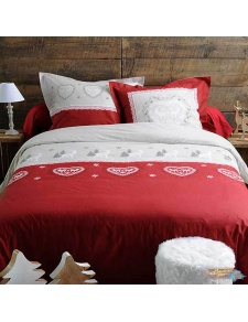 Juego de cama bicolor Corazones y Renos