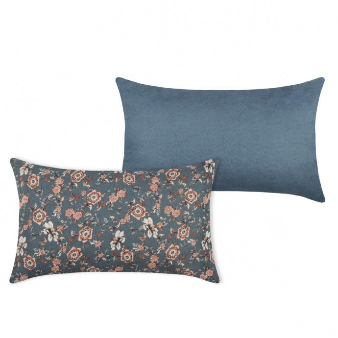 Coussin rectangulaire au style boudoir (Bleu)