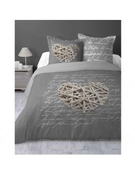 Parure de lit imprimée cœur en bois
