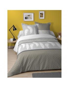 Parure de lit à impressions géométriques et plumes