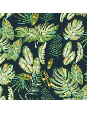 Tissu toile imprimée feuillages