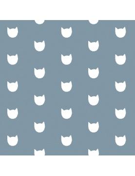 Tissu imprimé têtes de chat
