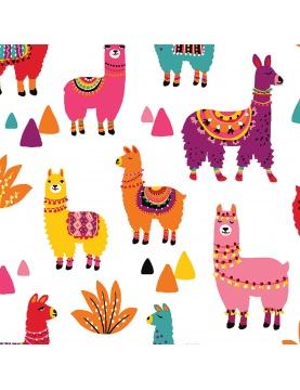 Tissu imprimé lamas colorés