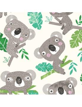 Tissu imprimé koalas et eucalyptus