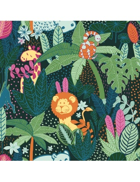Tissu imprimé jungle en folie