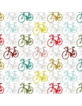 Tissu imprimé vélos multicolores