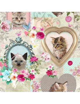 Tissu imprimé portrait de chaton