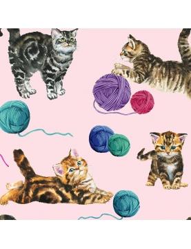 Tissu imprimé chats et pelotes de laine