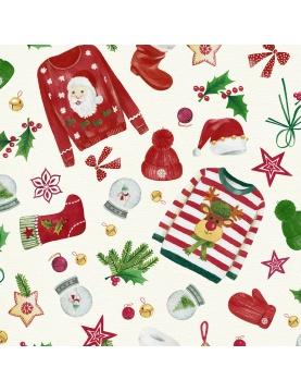 Tissu imprimé pull over de Noël