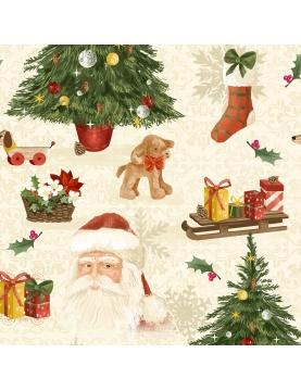 Tissu imprimé ambiance de Noël