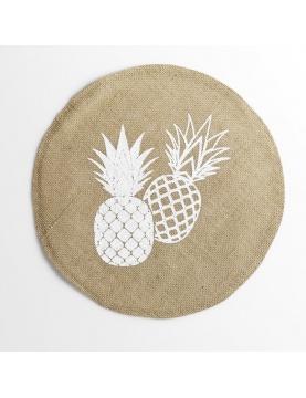 Set de table rond en sisal imprimé ananas