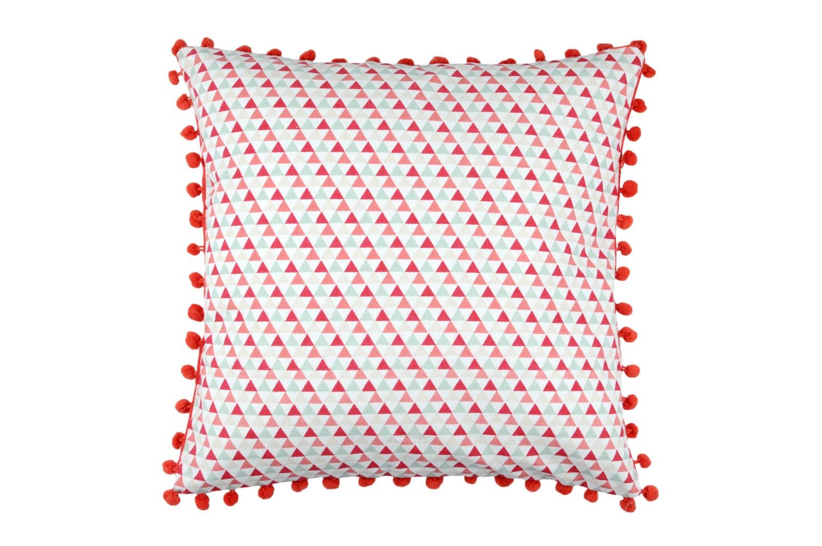 Coussin Carré avec Imprimé Géométrique Triangles (Rouge)