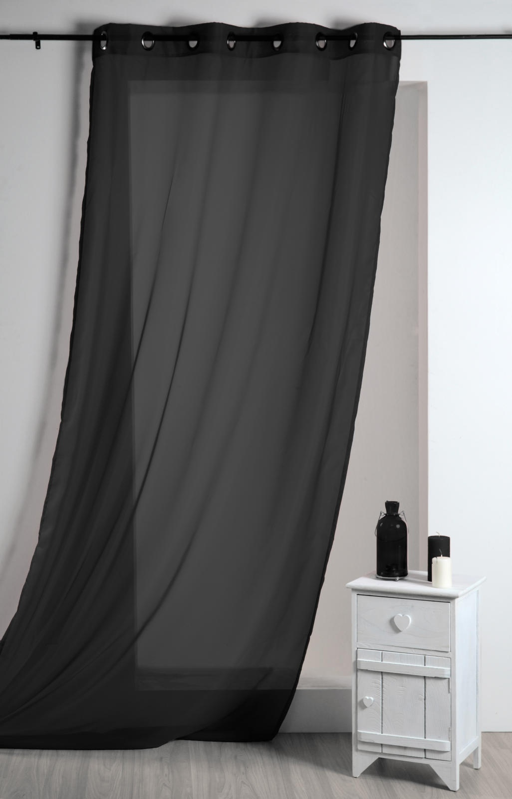 Voilage Uni Léger (Noir)
