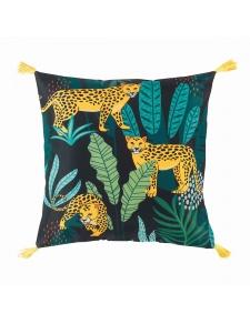 Coussin imprimé jungle à pompons jaunes