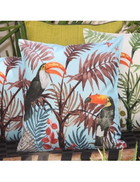 Coussin outdoor imprimé toucan