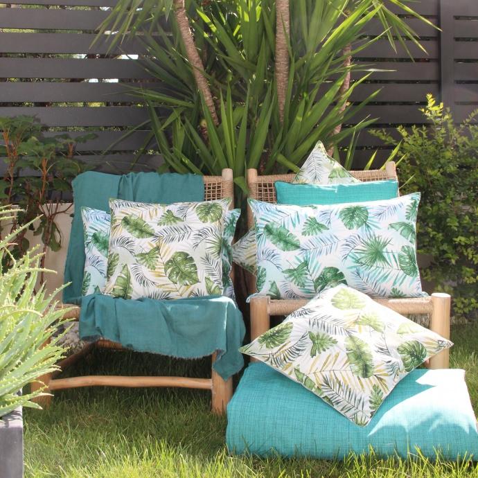 Coussin outdoor au style jungle botanique (Bleu)