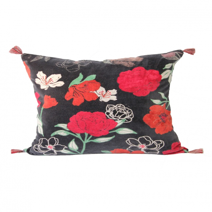 Coussin en velours motif fleuri (emeraude)