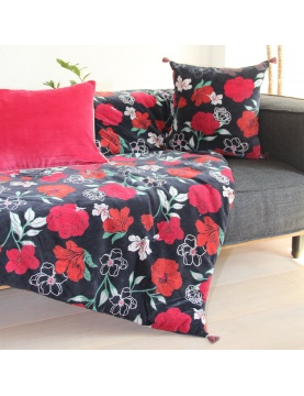 Plaid fleuri en velours