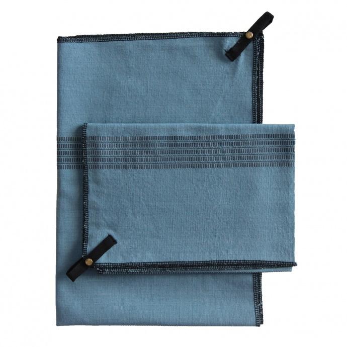Lot de 3 torchons en coton (Bleu)
