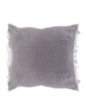 Coussin effet laineux à franges